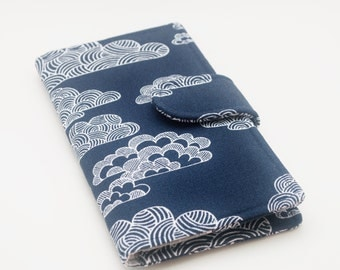 Womens Wallet, Organic Canvas Fabric Clutch , Navy Clouds