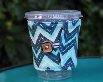 Handmade Fabric Coffee Cozy, Cotton Cozie, Blue Chevron, Reusable, Iced Coffee, Coffee Sleeve, Travel Mug, Fits Starbucks cup