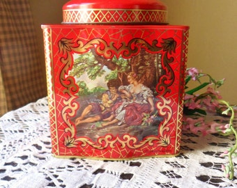 Red Asian Daher Cookie Tin, Courting Couple Design Ginger Jar Style Tin from England