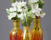 Ombre Painted Flower Bud Vases, With Colorful Ombre Glass from Ruby Red to Intense Pink, with Gold Accents