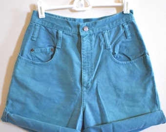 80s High Waisted Teal Denim Shorts, Vintage LEI Grunge Jean Shorts