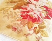 Vintage Romantic Home Oversized Pomegranate Red, Cafe au Lait, and Celadon Green Rose Petite Point Pillow, Shabby Chic, Olives and Doves