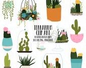 Cactus and Succulent Terrarium Digital Clip Art Files