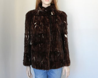 vntg GIVENCHY fur jacket / brown & white /couture/ mink /fur jacket /chubby fur
