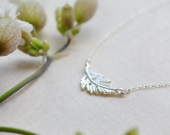 dainty leaf necklace /// sterling silver sideways layering necklace /// simple everyday jewelry