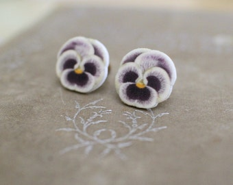 Purple Pansy Earrings