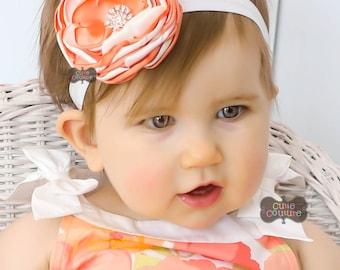 SINGED FLOWER-PEACH-Peach Headband-Singed Flower-Peach and White-Fancy Flower-Singed, Layered, Spring Flower-Satin Flower-Boutique Style