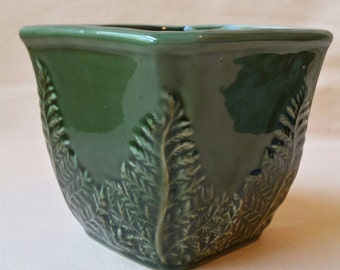 Vintage Planter ~ California Pottery ~ Square Planter ~ Forest Green ~ 1970's ~ Florist Jardiniere ~ Container