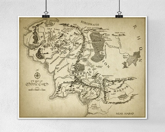 Lord of the Rings Map Wall Art Poster Middle Earth Map