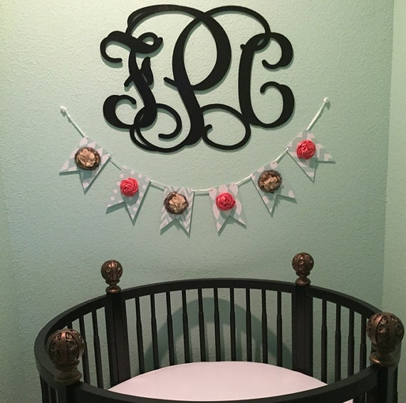 Wooden Wall Decor For Nursery : Nursery decor wooden monogram wall art large by