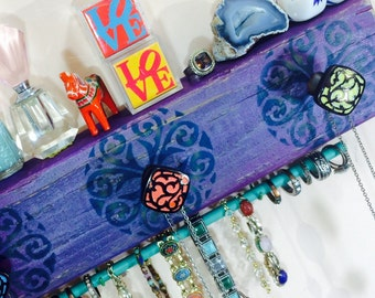Necklace holder reclaimed wood wall hanging storage organizer /recycled wood scarf hanger jewelry storage bracelet bar 2 hooks 3 knobs