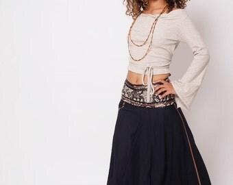 Bohemian Skirt , Boho Skirt , Bohemian Clothing , Black Gypsy Skirt , Long Skirt , One Size