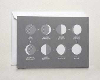 "sale - moon phases card - astronomy stationery - (5.82"" x 4.13"")"
