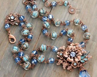 Flower Necklace, Sweet Romance, 1950s Necklace, Copper Necklace, Statement Necklace, Copper Necklace, Vintage Necklace, Blue Necklace N5985