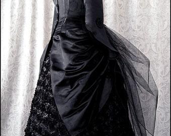 Gothic Dark Glamour - Silk Bat Brocade Black Midnight Bustle Jacket by Kambriel - Designer Sample - Brand New & Ready to Ship!