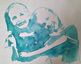 Custom Watercolor Portrait with 2 Subjects