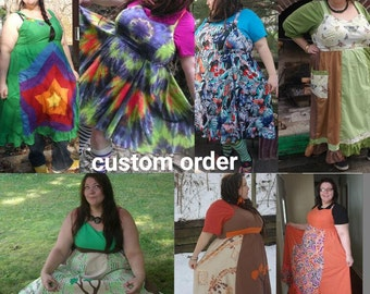 CUSTOM ORDER Made Just for You Earth Goddess PLUS Size Hippie Dress Upcycled Patchwork Sundress Fairy Dancing Ruffle Plus Size 18 - 28