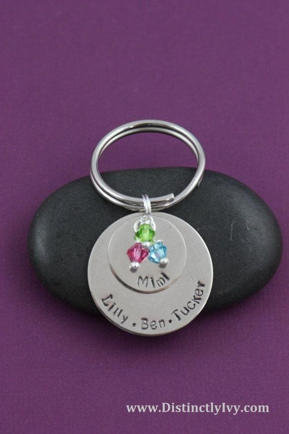 Childrens Names Keychain - Layered Keychain - Keychain for Grandma - Christmas Gifts - Mommy Gift - Birthstones - Family Keychains - Jewelry