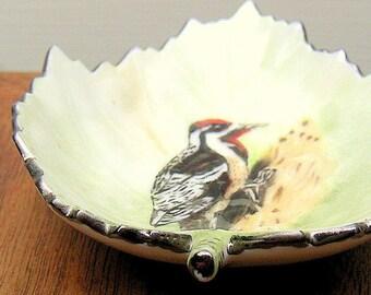 Vintage Woodpecker Porcelain Leaf Dish Artist Signed