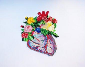 Super big Blooming Heart patch.Anatomical heart.Floral Anatomy.Flowers heart.Cardiac Jewelry.Human Heart.Anatomy jewelry.Statement necklace.