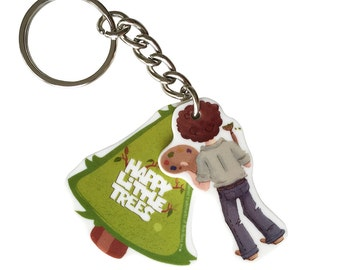 Bob Ross Keychain - Happy Little Trees - Officially licensed product.