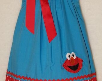 Elmo Pillowcase Dress / 123 Sesame Street / Big Bird / Blue + Red Dots / Newborn / Infant / Baby / Girl / Toddler / Custom Boutique Clothing