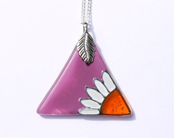 Purple Triangle Pendant with Daisy design, Hand Painted Glass Necklace, Purple Glass Daisy Necklace