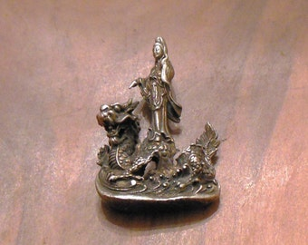 QUAN YIN STATUE Brass Goddess of Compassion w Dragon tiny portable altar Qwan Yin, Goddess of Mercy Statue