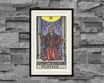 Vintage 1910 Justice XI Rider-Waite-Smith Tarot Card Reproduction Art Poster Print Two Sizes Available