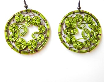 Spiral Earrings / Abstract Spiral Pattern / Pistachio / Ear Fish Hook / Unique Gift