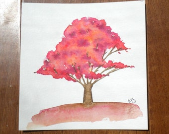 Bright Pink Tree, Original Watercolor Painting
