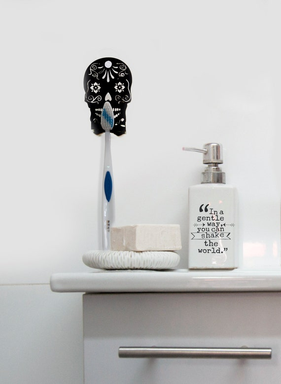 skull decor toothbrush holder skull bathroom decor day of the