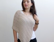 Beige Summer Poncho, Linen and Cotton Poncho, beach cover up, summer wrap, cropped sweater loose knit poncho for women, cotton shawl