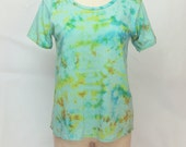 CLEARANCE Opalescent Teal Lime Organic Cotton Dream T-shirt in rainbow colors