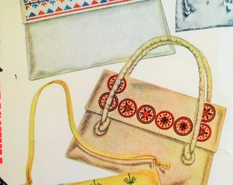 Vintage Simplicity 7374 Sewing Pattern, Purse Pattern, 1940s Envelope Bag Pattern, Slip Cover Bags, 1940s Bag Pattern, Embroidery Transfer