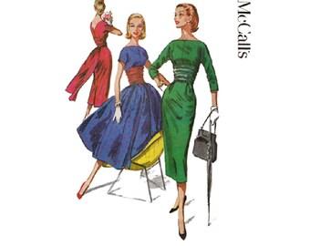 SALE! Bouffant or Wiggle Dress Pattern with Back Panel Train Bust 34 McCalls 3781 Cocktail Dress/ Bateau Neckline Vintage 1950s
