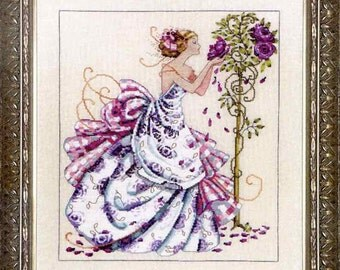 Roses of Provence Kit (Cross Stitch Chart, Linen or Aida, Beads, Braid) Nora Corbett Mirabilia MD124