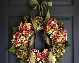 Hand Blended Hydrangea Wreath | Front Door Wreaths | Summer Wreaths | Housewarming Gift | Shabby Chic