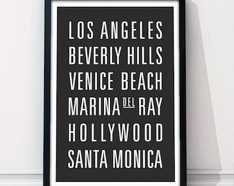 LOS ANGELES, CALIFORNIA Subway Art Print - Customizable