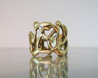Brutalist Style Wide Gold Ring Wedding Band in Solid 14K or 18K...Choose Yellow, Rose or White Gold