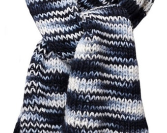 Hand Knit Scarf - Black White Grey Ribbed Silk and Wool