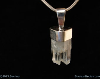 Aquamarine Crystal in Argentium Sterling Silver Pendant