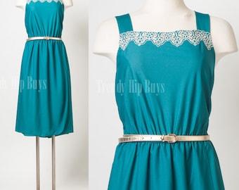 Vintage Dress, Vintage teal dress, Vintage Green Dress, Vintage summer dress, Strap Dress, Wrap dress, 70s Dress, sleeveless Dress- XL/1XL
