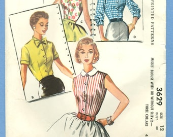 1956 Misses' Blouse With or Without Sleeves - Three Collars Size 12 - Vintage McCalls Sewing Pattern 3629