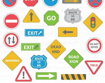 Road sign vector - Digital Clipart - Instant Download - EPS, PNG files included