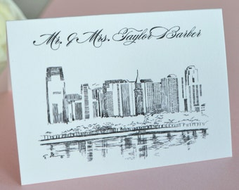 New Jersey Skyline Place Cards Personalized with Guests Namesv(Sold in sets of 25 Cards)