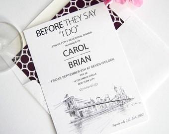 New York Skyline Rehearsal Dinner Invitations (set of 25 cards)