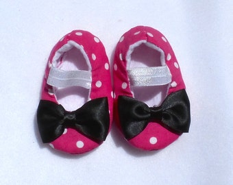 Pink Minnie Mouse Inspired Baby Shoes, Ballerina Shoes, Mary Jane shoes, Baby Booties, Baby Girl Shoes,Crib Shoes, Pink Polka Dot shoes