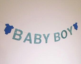 Baby boy baby shower banner garland
