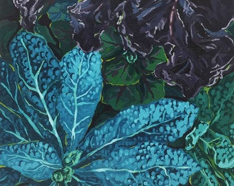 Purple Green Blue Kale Plant Original Oil Painting Print